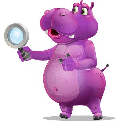 Purple Hippo Cartoon Character