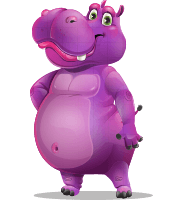 Purple Hippo Cartoon Character