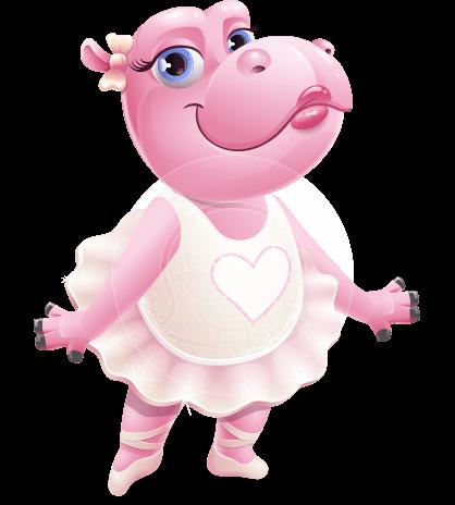 Dancing Hippo Cartoon Character AKA Hippo Ballerina