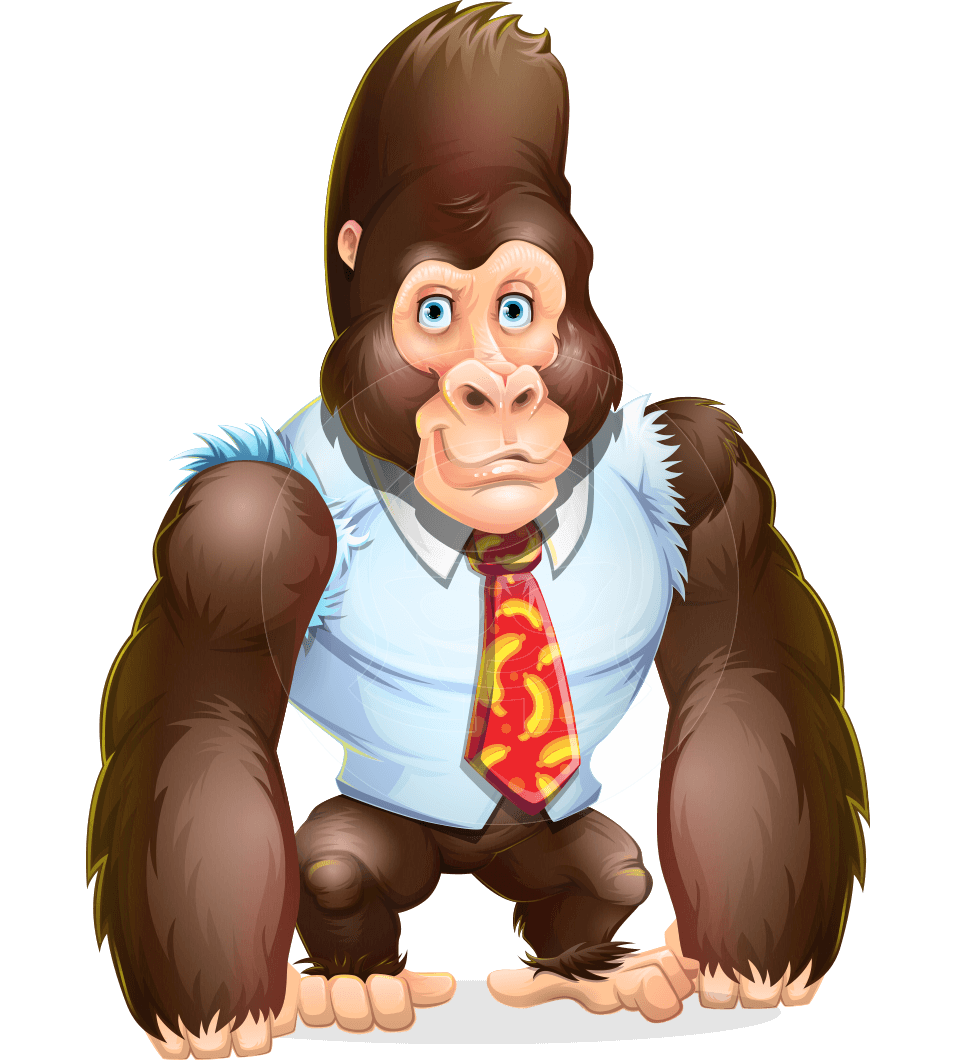 Funny Gorilla Cartoon Vector Character