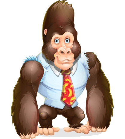 Funny Gorilla Cartoon Vector Character