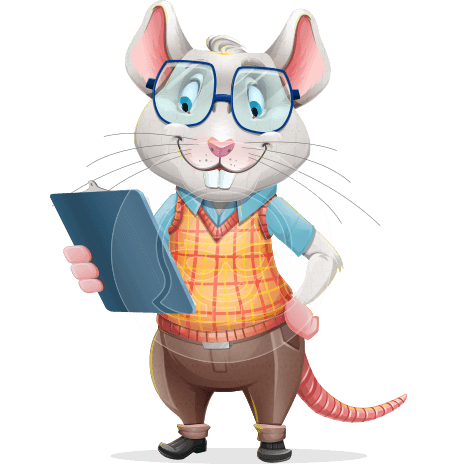 Smart Mouse with Glasses Cartoon Vector Character