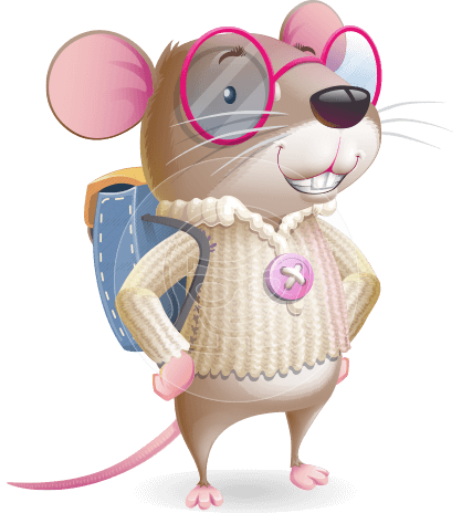Student Mouse Kid Cartoon Vector Character
