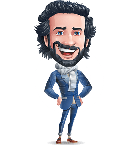 Stylish Man Cartoon Character: Classic Blue Edition 2020