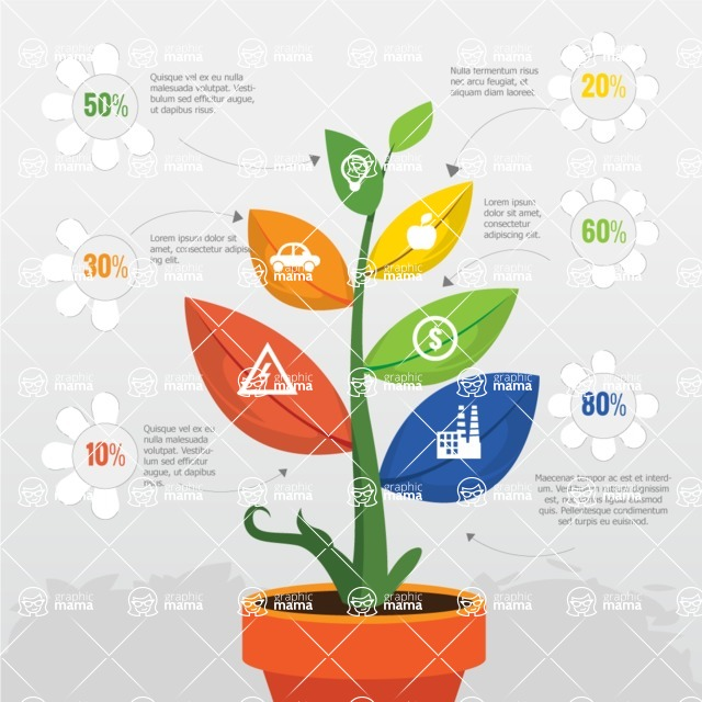Infographic Template Collection - Vector Flower in Pot Infographic Template Design