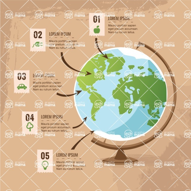 Infographic Templates Collection - Vector, Photoshop, PowerPoint, Google Slides - Vector Ecology Infographic Template with Planet Earth