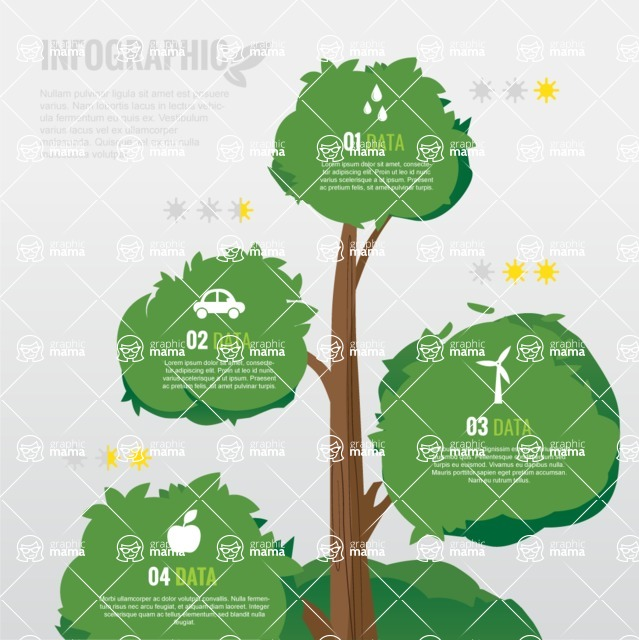 Infographic Template Collection - Flat Tree Vector Ecology Infographic Template