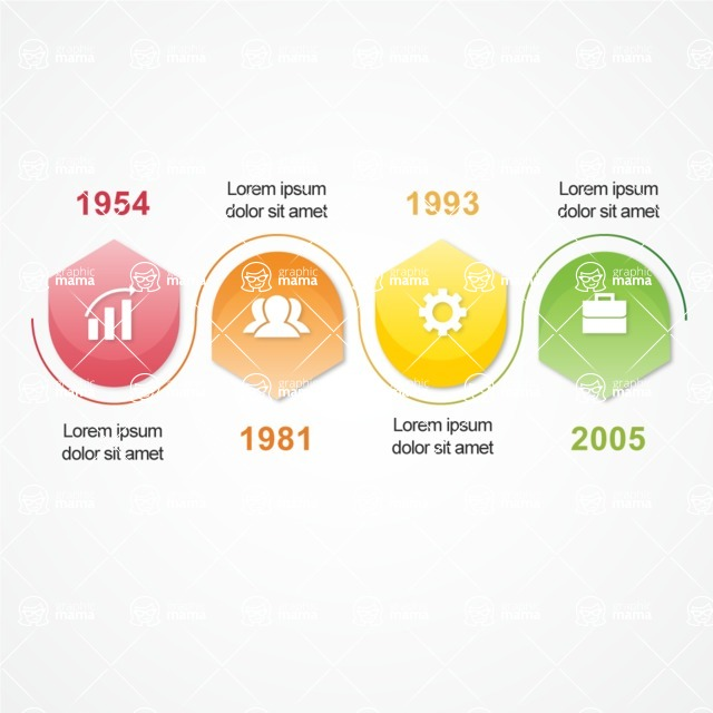 Infographic Template Collection - Bright Color Timeline Infographic Template Design