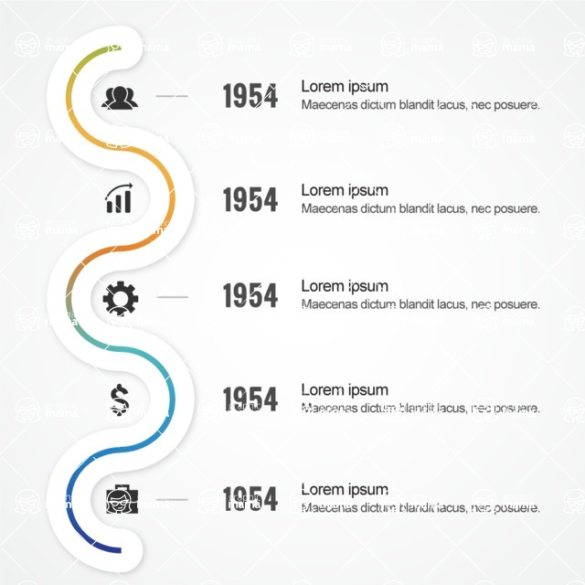 Infographic Template Collection - Timeline with Line and Events Vector Infographic Template Design