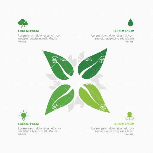 Infographic Templates Collection - Vector, Photoshop, PowerPoint, Google Slides - Vector Flower Leafs Infographic Template Design