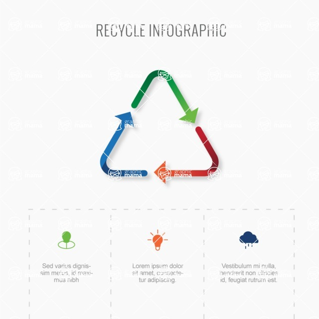 Infographic Templates Collection - Vector, Photoshop, PowerPoint, Google Slides - Minimalistic Recycling Sign Infographic Template Vector Design