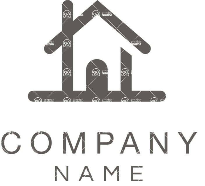 Business Logo Templates - vector graphics in a pack from GraphicMama - Black and White Real Estate Company Logo Design with a House