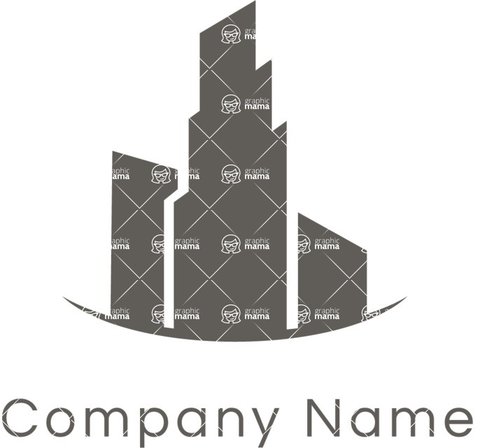 Business Logo Templates - vector graphics in a pack from GraphicMama - City Landscape Business Logo Design Black and White