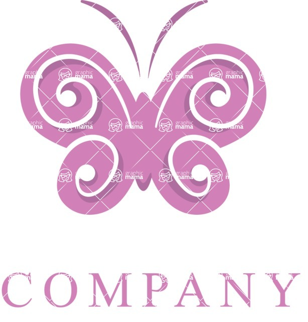 Business Logo Templates - vector graphics in a pack from GraphicMama - Elegant Fashion Logo Design with Butterfly