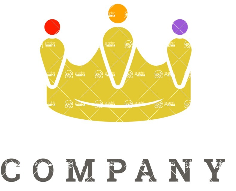 Business Logo Templates - vector graphics in a pack from GraphicMama - Flat Crown Company Logo Design
