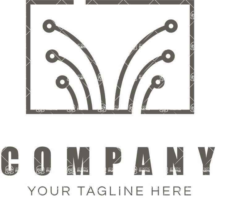 Business Logo Templates - vector graphics in a pack from GraphicMama - Flat Style Tech Business Logo Design - Black and White