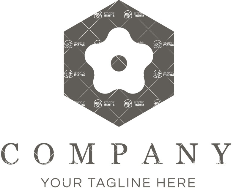 Business Logo Templates - vector graphics in a pack from GraphicMama - Floral Company Logo Design - Black and White