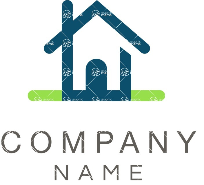 Business Logo Templates - vector graphics in a pack from GraphicMama - Simple Style Real Estate Company Logo Design with a House