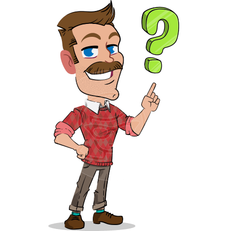 Simple Style Cartoon of a ​Man with Mustache