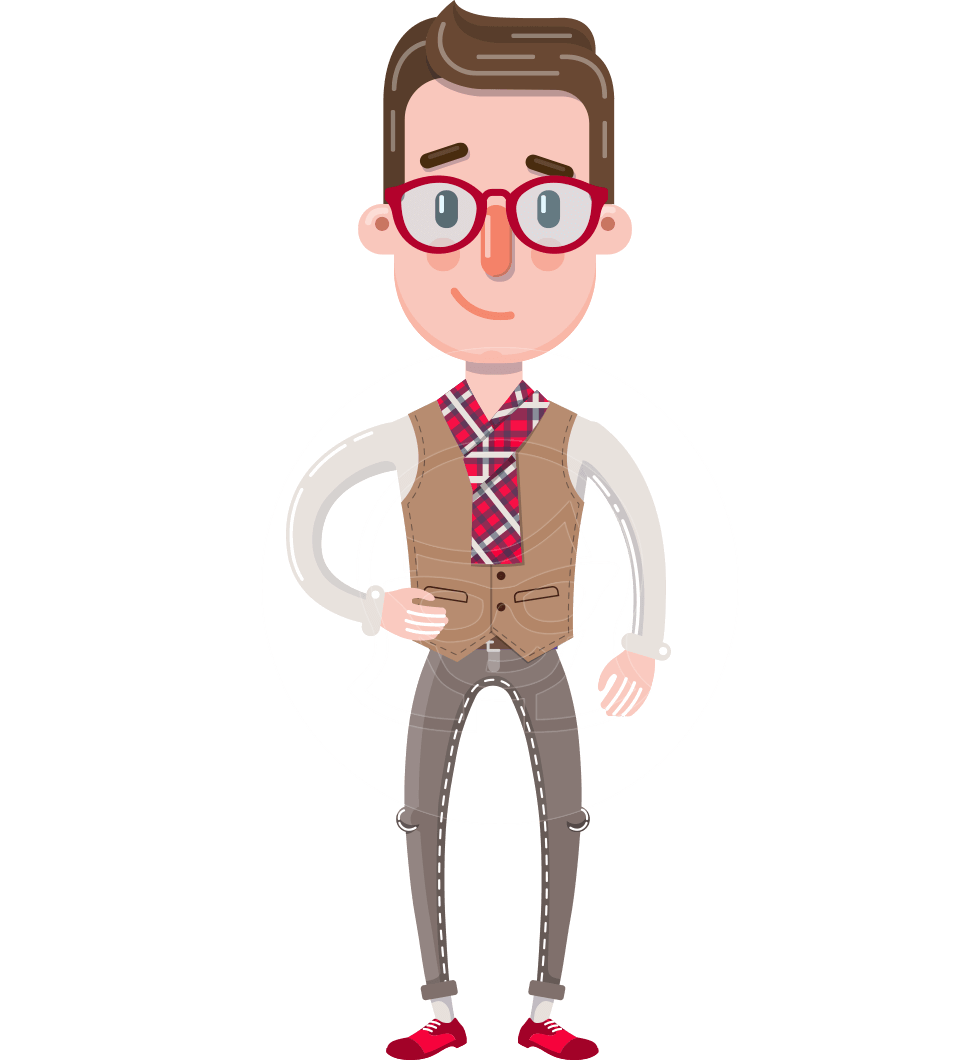 Smart Office Man Cartoon Character in Flat Style