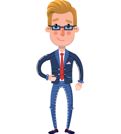 Businessman Cartoon Character in Flat Style
