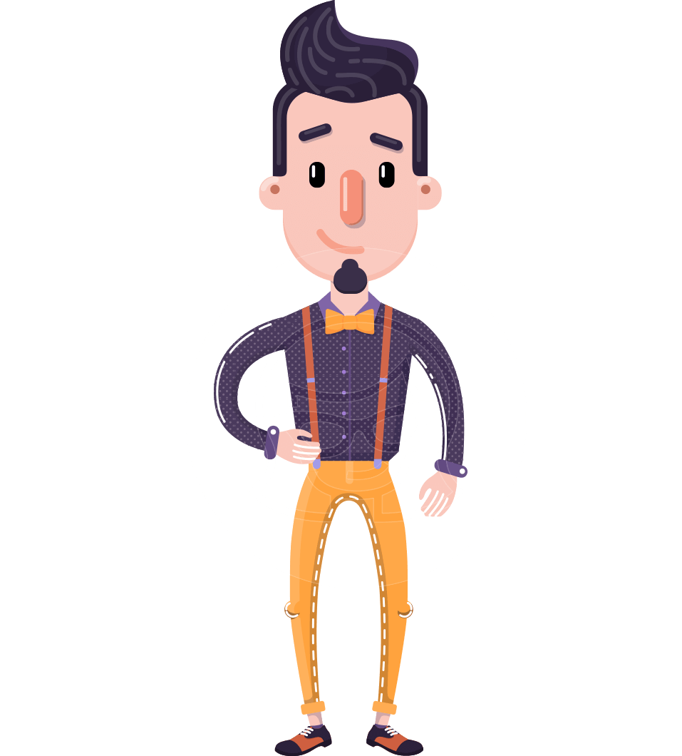 Cartoon Hipster in Flat Style Vector Character