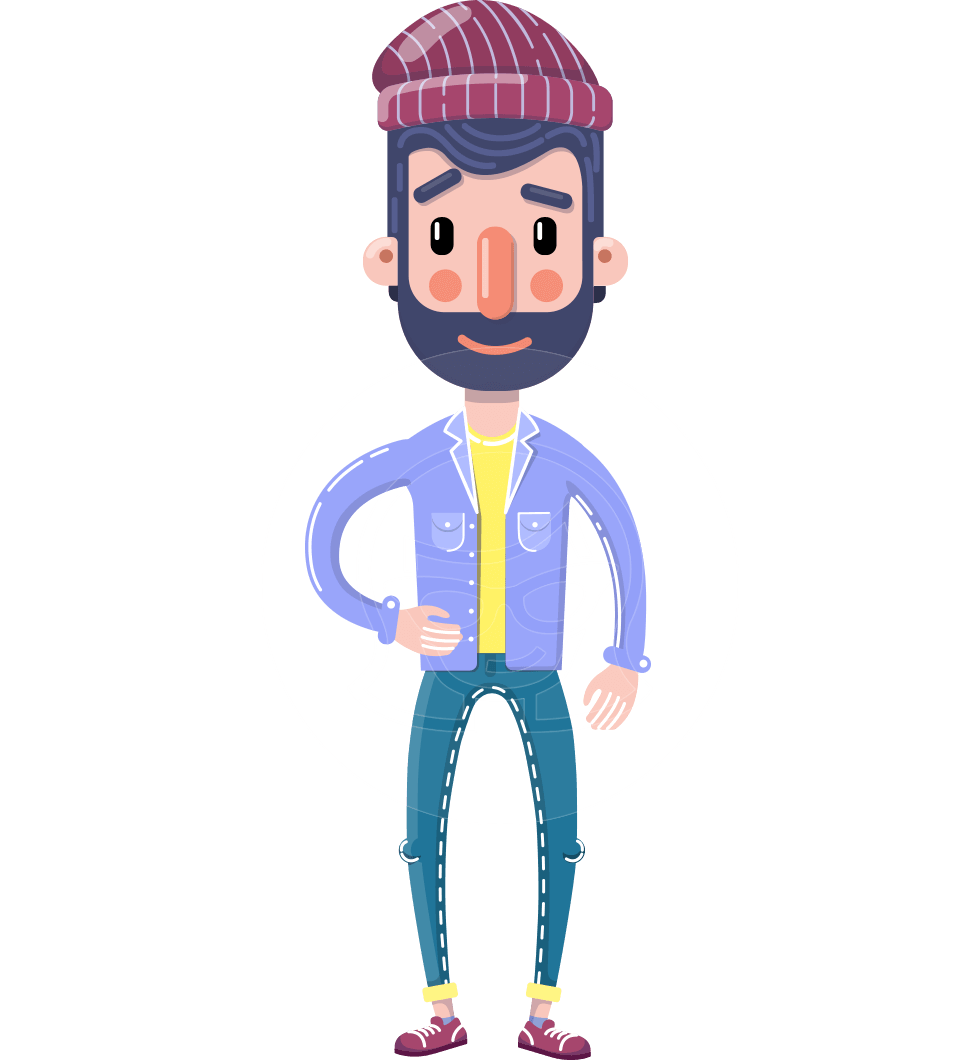 Man with Beard Cartoon Character in Flat Style