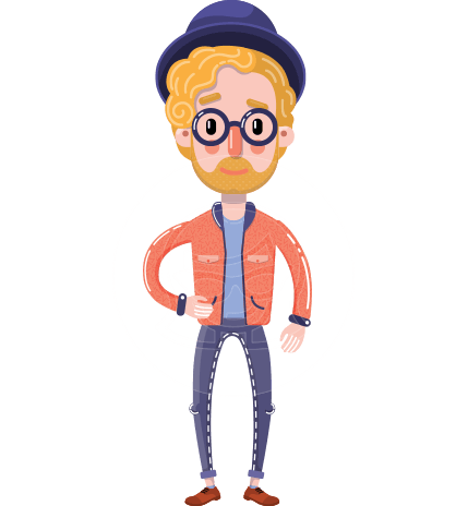 Young Vector Blonde Man Flat Cartoon Character