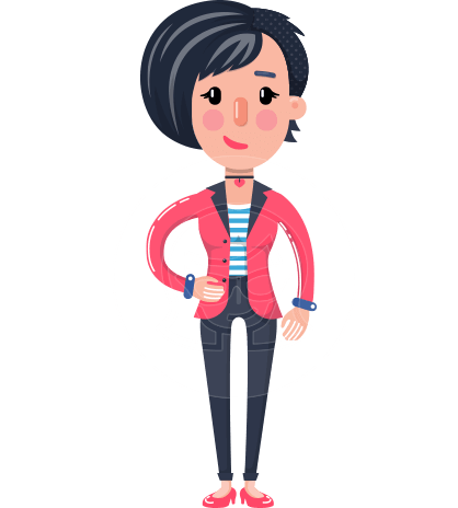 Cartoon Girl with Short Hair Vector Character