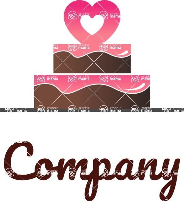 Business Logo Templates - vector graphics in a pack from GraphicMama - Modern Wedding Company Logo Design with a Cake