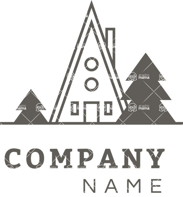 Business Logo Templates - vector graphics in a pack from GraphicMama - Simple Vector Camp Logo Design - Black and White
