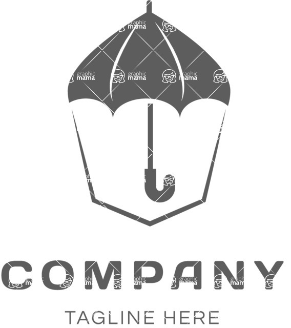 Business Logo Templates - vector graphics in a pack from GraphicMama - Protection Business Company Logo Design with Umbrella - Black and White
