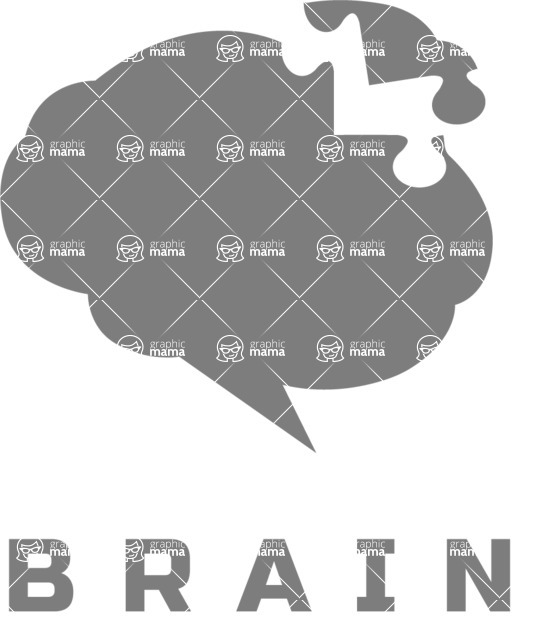 Business Logo Templates - vector graphics in a pack from GraphicMama - Brain Puzzle Logo Design Template - Black and White