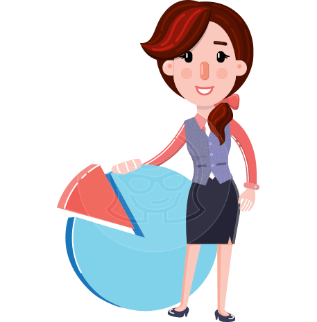 Flat Marketing Girl Cartoon Character