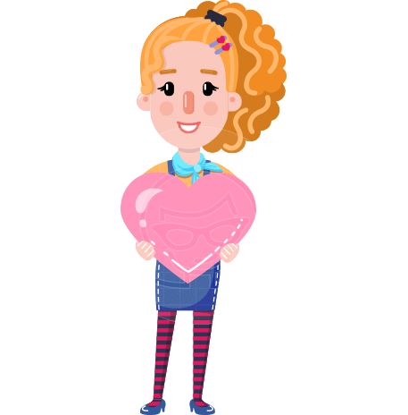 Cute Blonde Girl in Flat Style Cartoon Character
