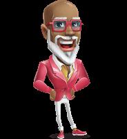 Mature African American Man Cartoon Character