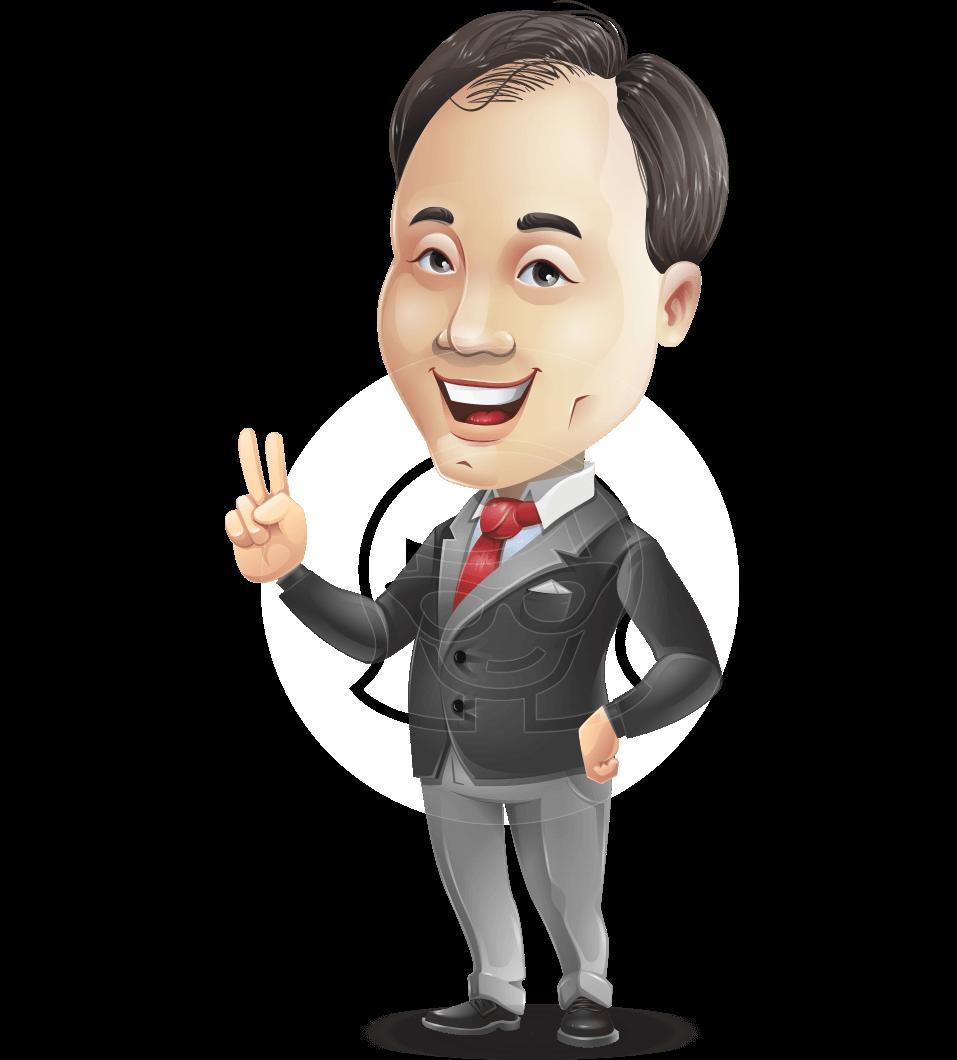Asian Businessman Cartoon Vector Character