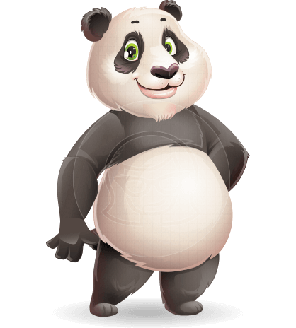 Cute Panda Vector Cartoon Character