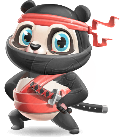 Ninja Panda Vector Cartoon Character
