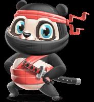 Ninja Panda Vector Cartoon Character