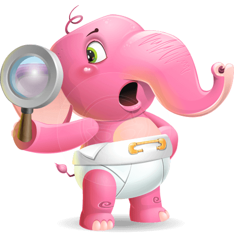 Baby Elephant Vector Cartoon Character