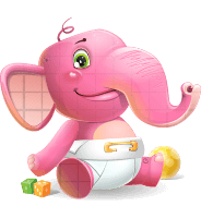 Baby Elephant Vector Cartoon Character