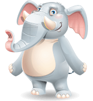 Elephant Vector Cartoon Character