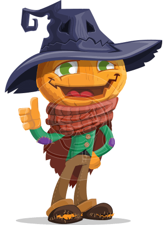 Halloween Scarecrow Cartoon Vector Character