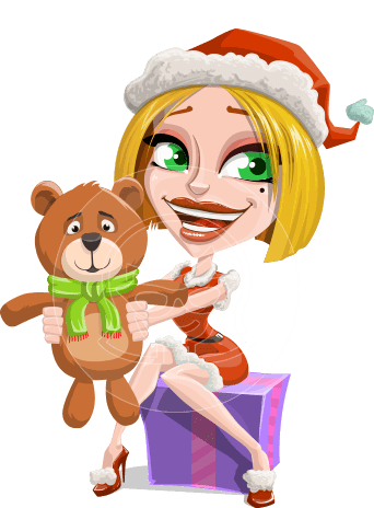 Santa Girl Cartoon Vector Character