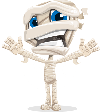 Little Mummy Kid Cartoon Vector Character AKA Fiddo the Mummy Kiddo