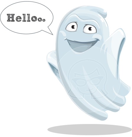 Cute Ghost Cartoon Vector Character AKA Boo Transparento