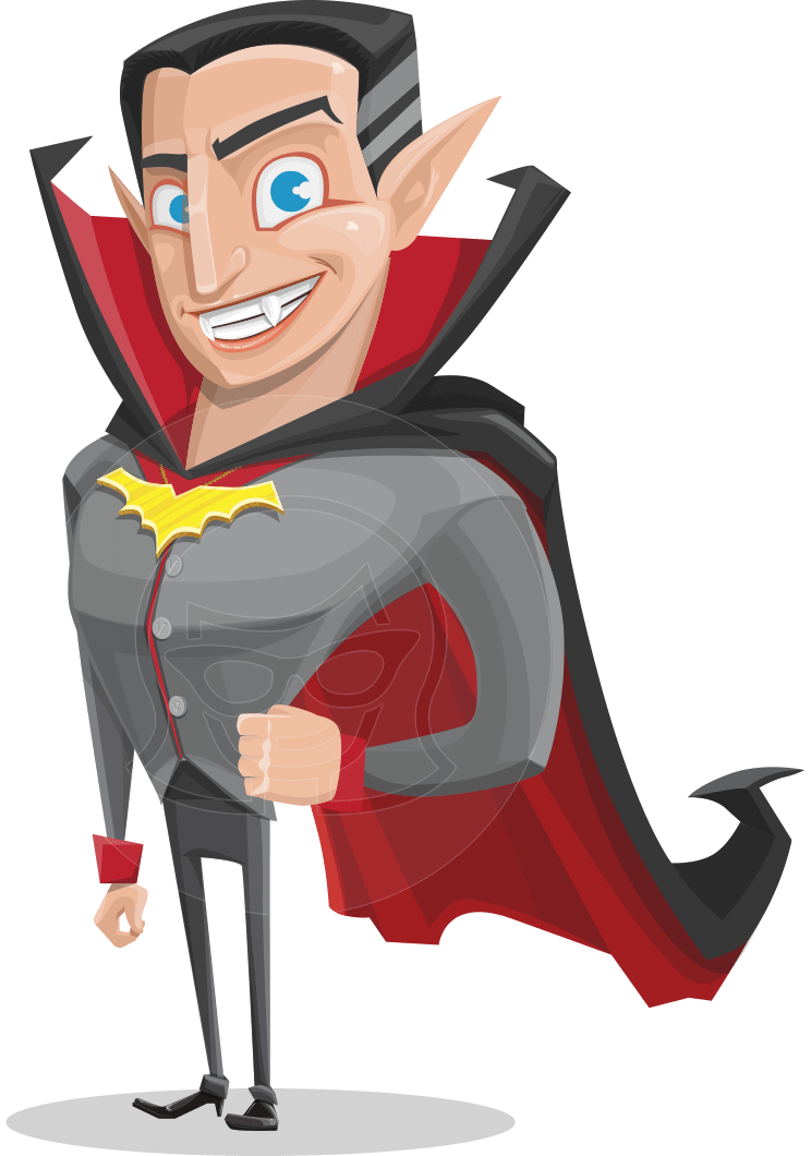 Funny Vampire Man Vector Cartoon Character