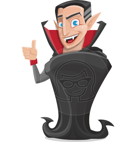 Funny Vampire Man Vector Cartoon Character AKA Dark-on Bites