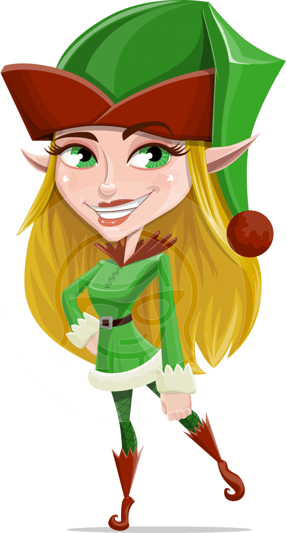 Female Christmas Elf Cartoon Vector Character